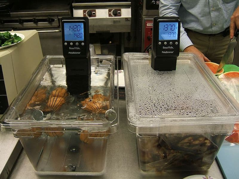 two sous vide machines side by sous vide meat