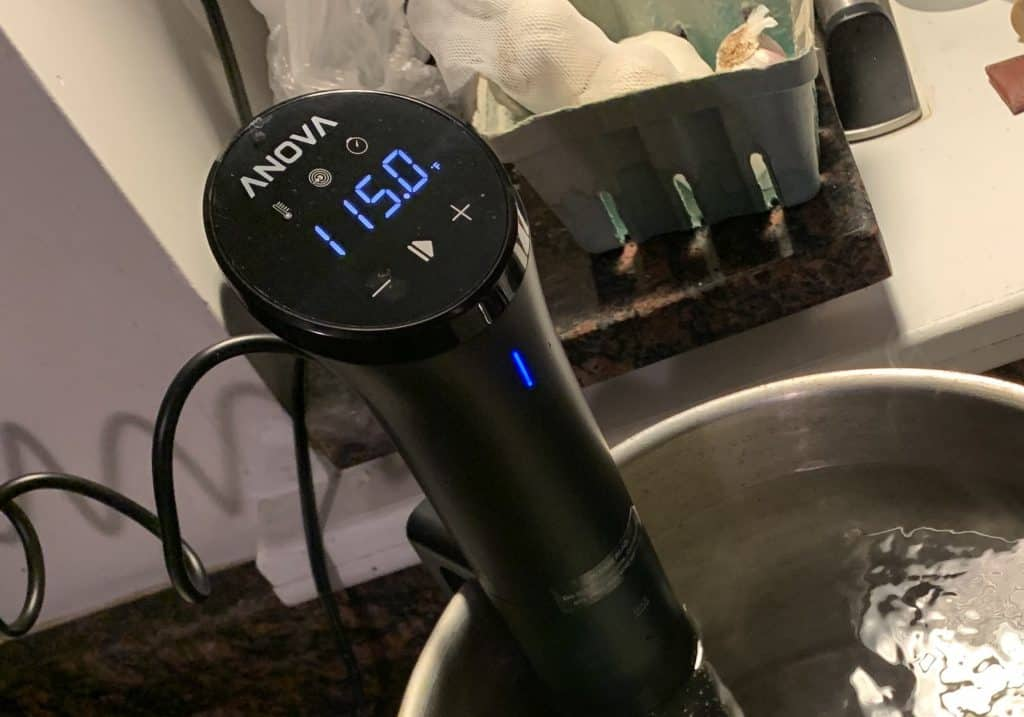 sous vide display controls showing the temperature